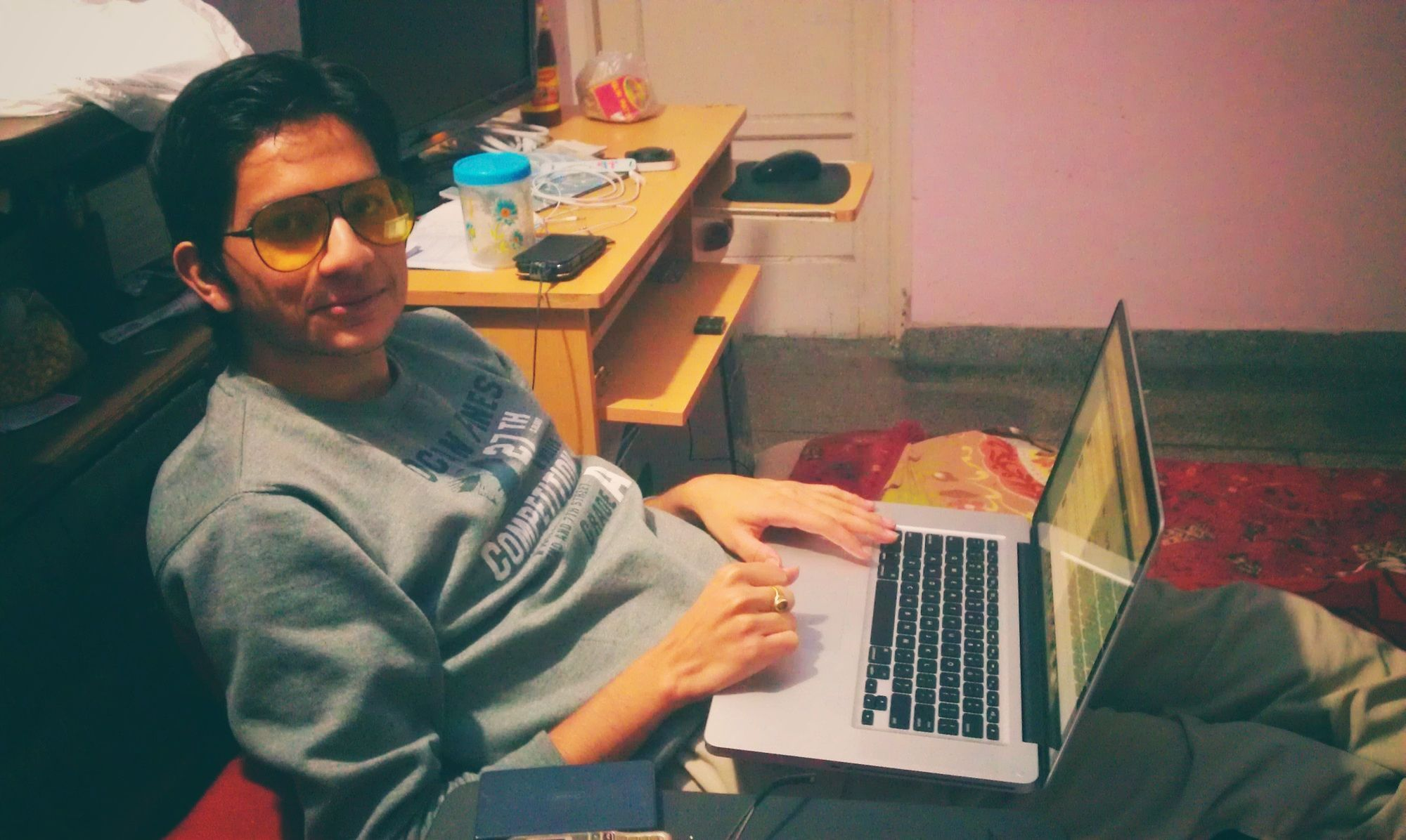 Tushar working on his MacBook in December 2011